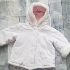 White and pink winter coat